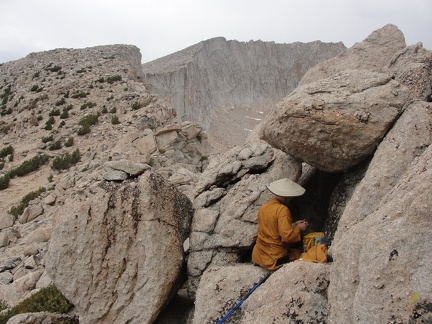 Ajahn Sudanto making a cup of coffee on route to Mt Conness