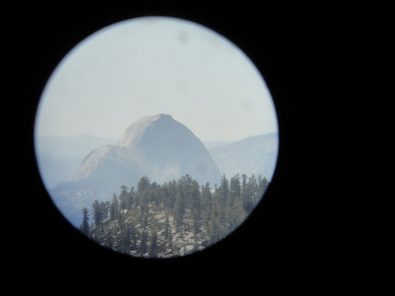 View of Half Dome through binoculars