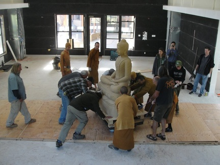 Moving the Buddha into place
