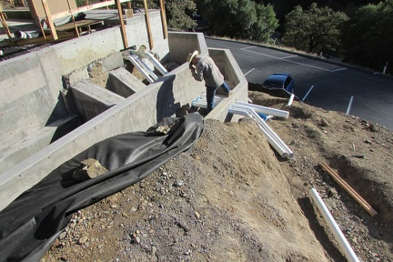 Drain pipes going through the retaining walls