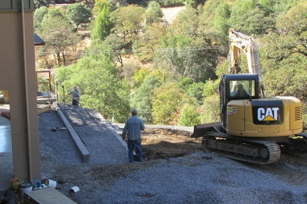 Back-filling the retaining walls