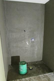 Mud work in shower stall