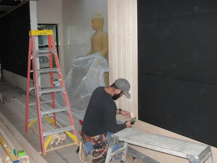 Acoustic panels being installed