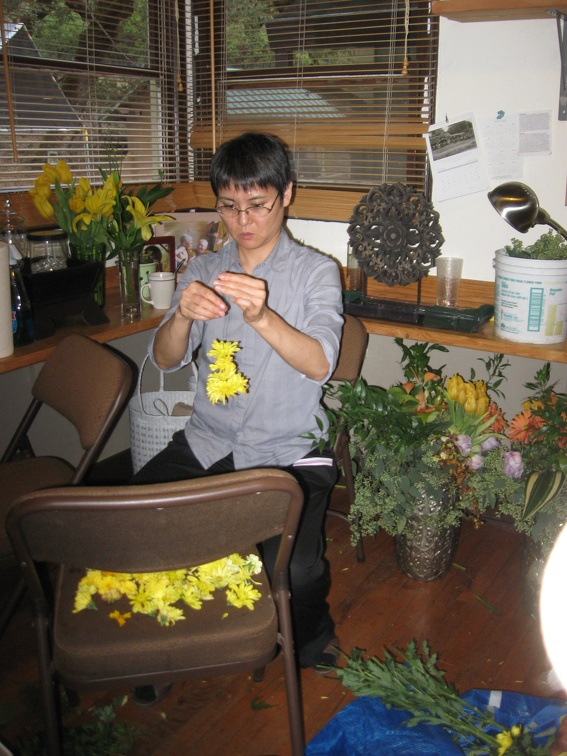 Preparing the flowers with great focus