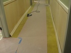 Installing baseboards in basement.