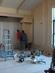 Installing audio cabinet in Reception Hall