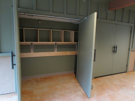 Shelves in zafu storage closets.