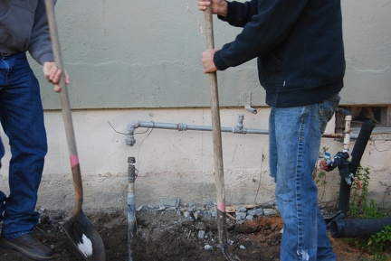 Before demolition, the water line had to be cut...