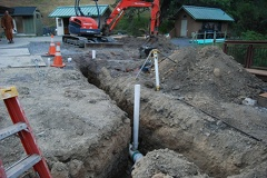 Drain lines being installed