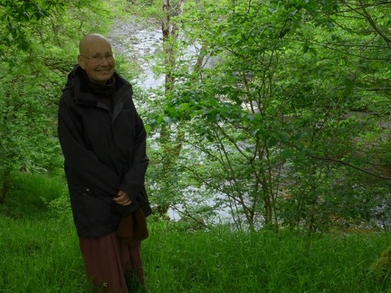 Ajahn Candasiri above the Water of Ruchill