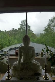 Marble Buddha image in main shrine room