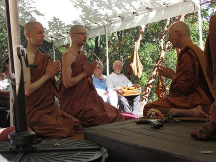 Before the Bhikkhu ordination, Sampanno and Suddhiko retake the Sāmaṇera precepts