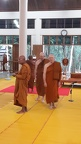 The new Jao Khuns and Luang Por Liem (abbot of Wat Nong Pah Pong) survey the scene in the Wat Pah Nanachat Meditation Hall before the ceremony which will draw upwards of 1,000 people from Ubon and the surrounding areas.