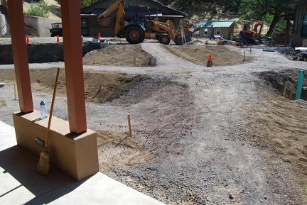 Courtyard pathways being prepared