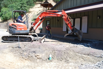 Removing concrete in front of Dinning Hall