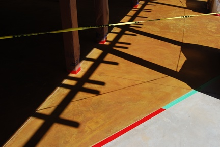 Stain freshly applied to the Breezeway