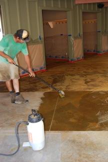 Applying stain to concrete Breezeway