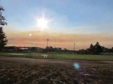 Smoke and haze from Willits High School