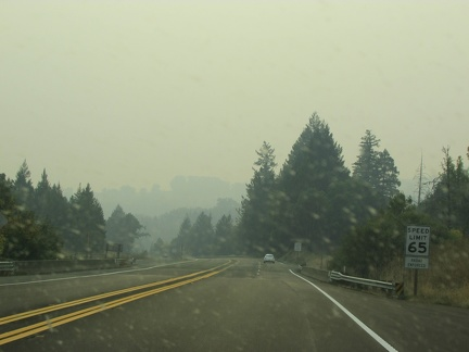 Smoke and ash north of Willits