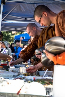 Monks in the food line