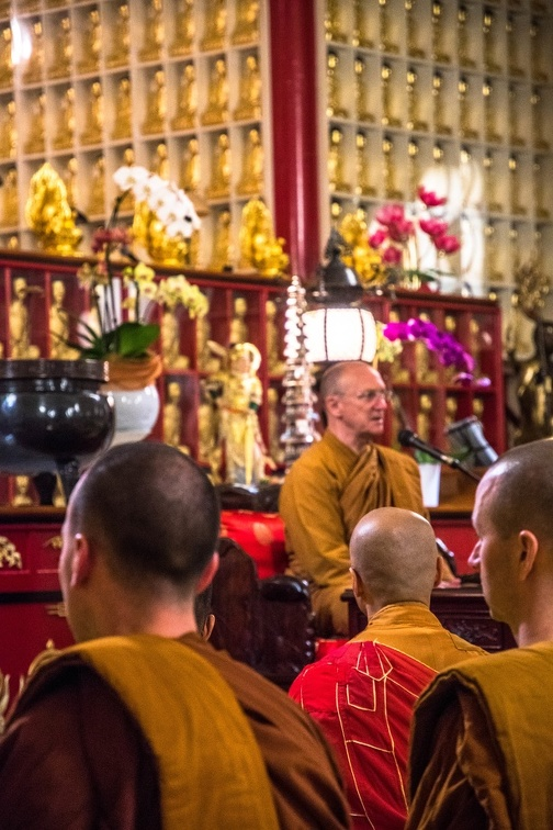 Laung Por, gives a Dhamma talk at The City of Ten Thousand Buddhas.