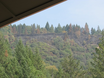 Our first view of burn areas, seen from Monks Utility Building