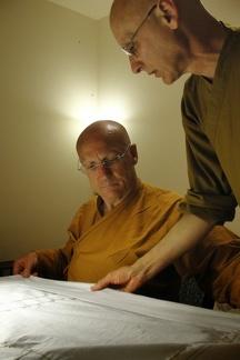 126a) LP Pasanno & Aj. Karunadhammo Sewing the Kathina robe