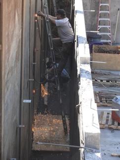 P1 Preparing to remove steel wall