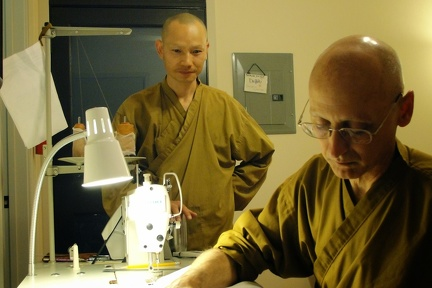 126b) Aj. Karunadhammo & T. Kassapo Sewing Kathina Robe