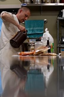 Kitchen manager hard at work