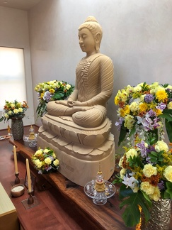 Offerings to the Buddha Image in anticipation of Luang Por's arrival