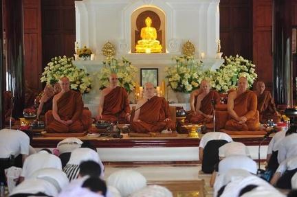 Luang Por Sumedho, Luang Por Pasanno, and various senior monastics at Wat Ratanawan's July 27th celebration of Asalha Puja and Luang Por Sumedho's birthday.