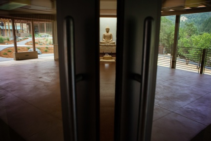The sandstone Buddha image in the new meditation hall