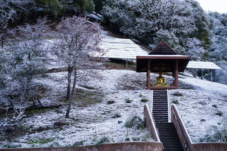 The monastery's outdoor Buddha shrine after an overnight snow in mid February.