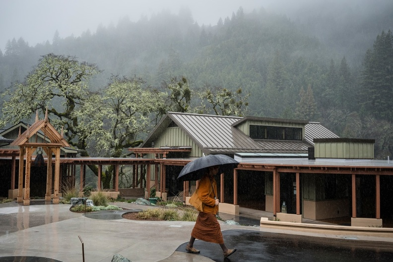 The monastery's cloister area during a rain in early February, when many parts of California saw record rainfall.