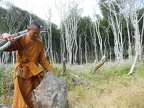 Ajahn Sek gathers poles for his glot umbrella tent and finds a nice flat piece of driftwood for sitting.
