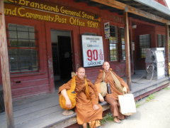 Taking a rest in the shade of an old abandoned gas station on Branscomb Rd. Gas only 90 cents a gallon!