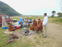 "Dave Rupe, Abhayagiri's ""water guy"" since its inception, met the monks at Usal campground and offered hot water for baths and tea, good conversation and the meal prior to their departure for The Lost Coast."