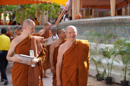 Luang Por and Tan Kovilo leaving Wat Ratchabopit