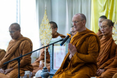 Luang Por chanting before giving a Dhamma talk at the Tawsi School