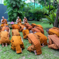 The Wat Pah Nanachat Sangha paying respects