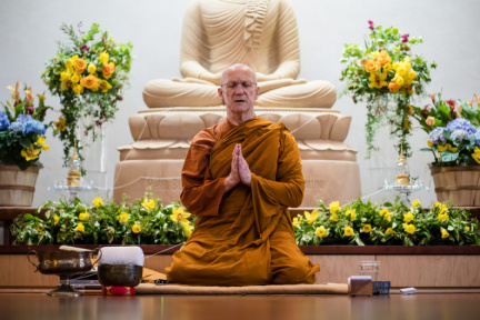 Luang Por Pasanno offers the three refuges and five precepts.