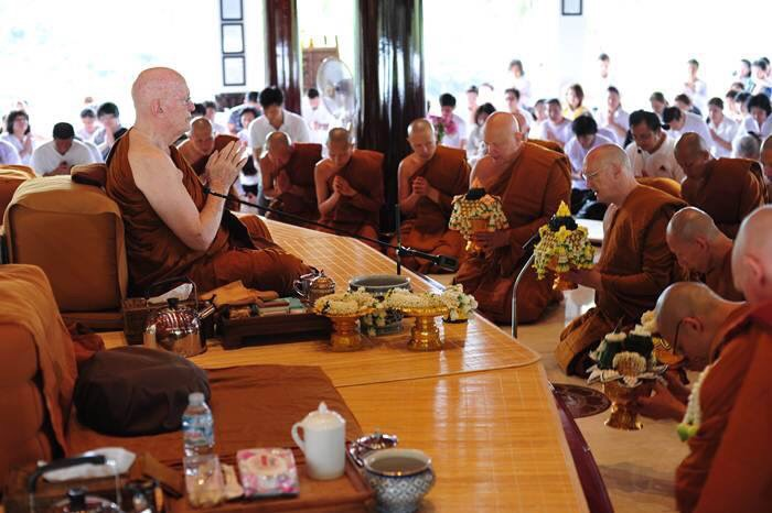 Luang Por Pasanno and other senior monastics paying respects to Luang Por Sumedho during his July 27th birthday celebration at Wat Ratanawan